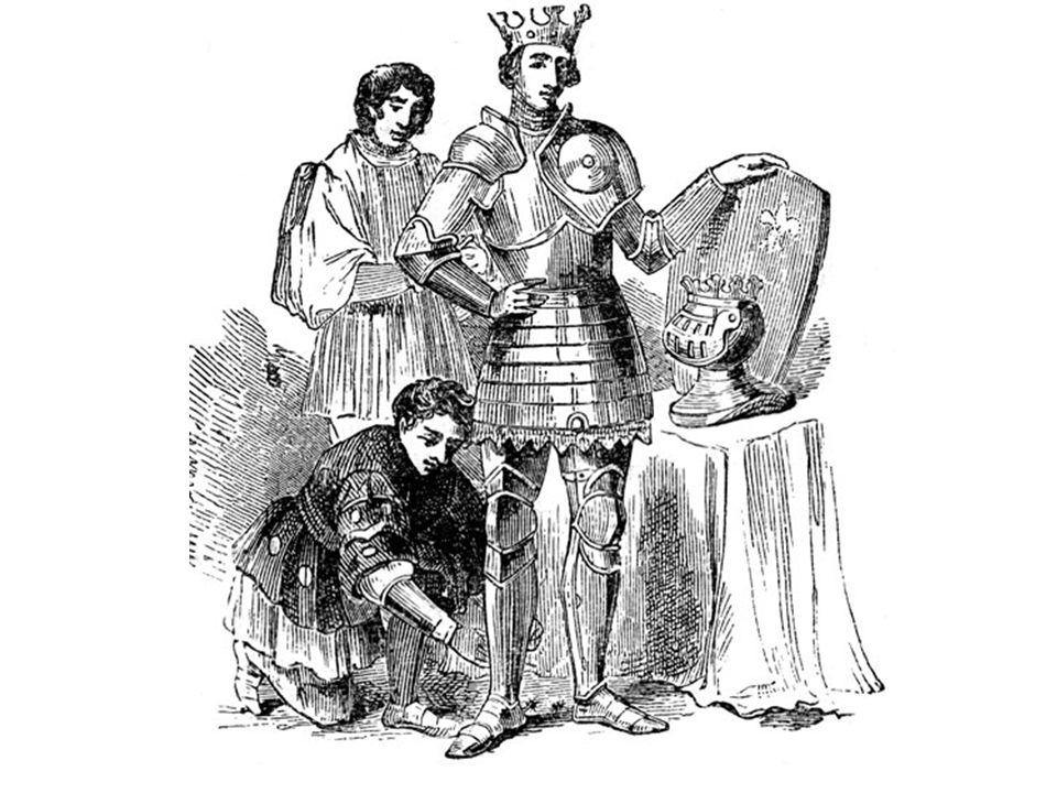 Um cavaleiro medieval sendo preparado pelo seu escudeiro.
