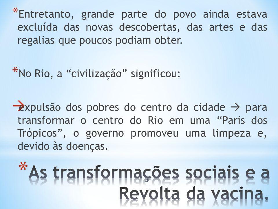 As transformações sociais e a Revolta da vacina.