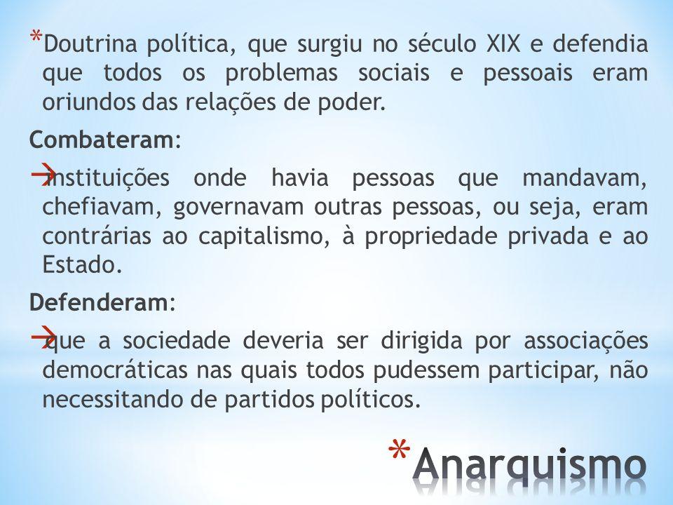 Doutrina política, que surgiu no século XIX e defendia que todos os problemas sociais e pessoais eram oriundos das relações de poder.