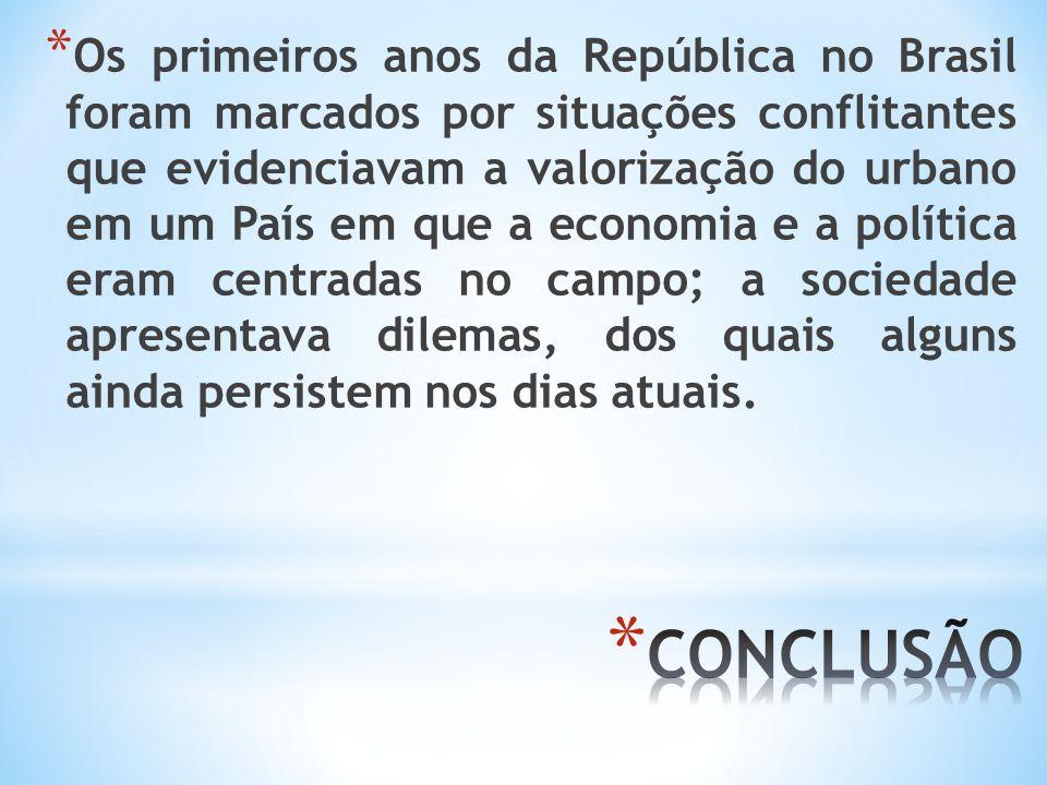 Os primeiros anos da República no Brasil foram marcados por situações conflitantes que evidenciavam a valorização do urbano em um País em que a economia e a política eram centradas no campo; a sociedade apresentava dilemas, dos quais alguns ainda persistem nos dias atuais.