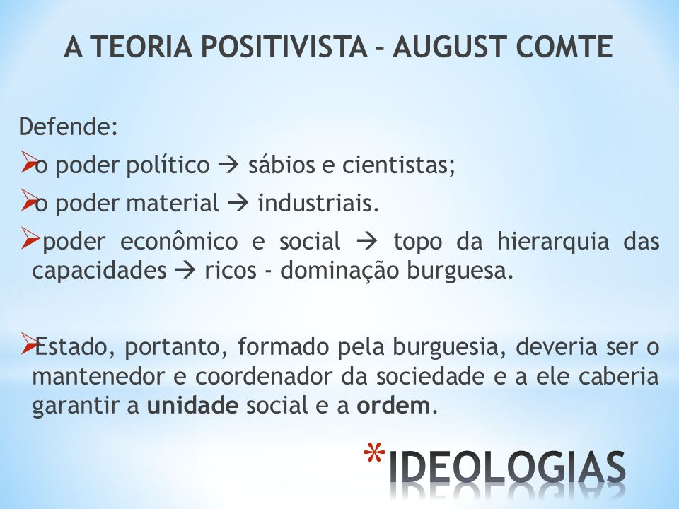 A TEORIA POSITIVISTA - AUGUST COMTE