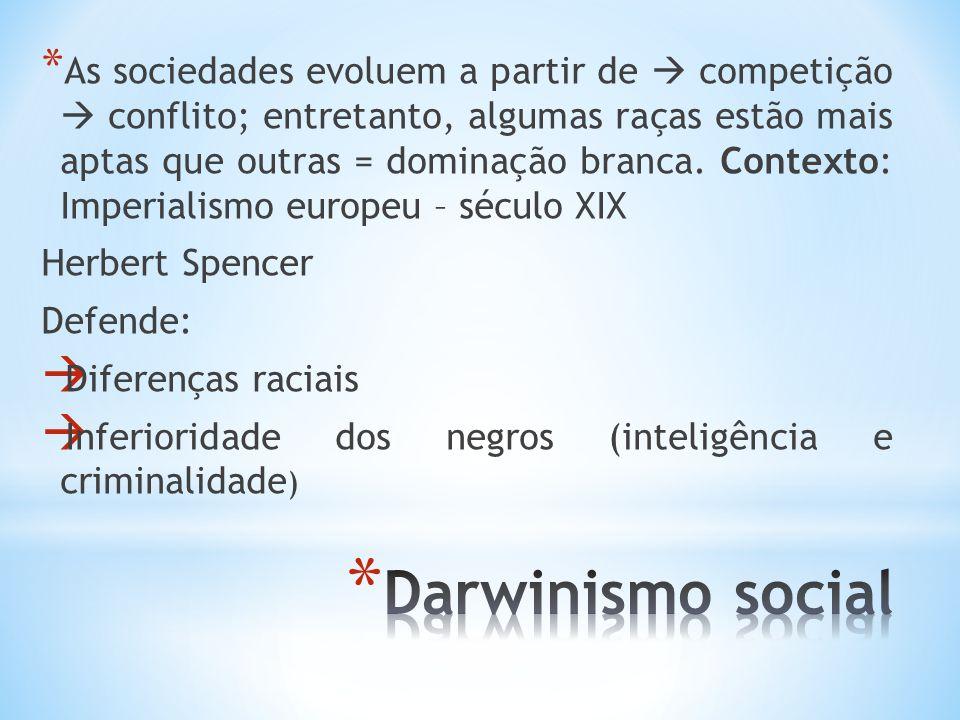 As sociedades evoluem a partir de  competição  conflito; entretanto, algumas raças estão mais aptas que outras = dominação branca. Contexto: Imperialismo europeu – século XIX