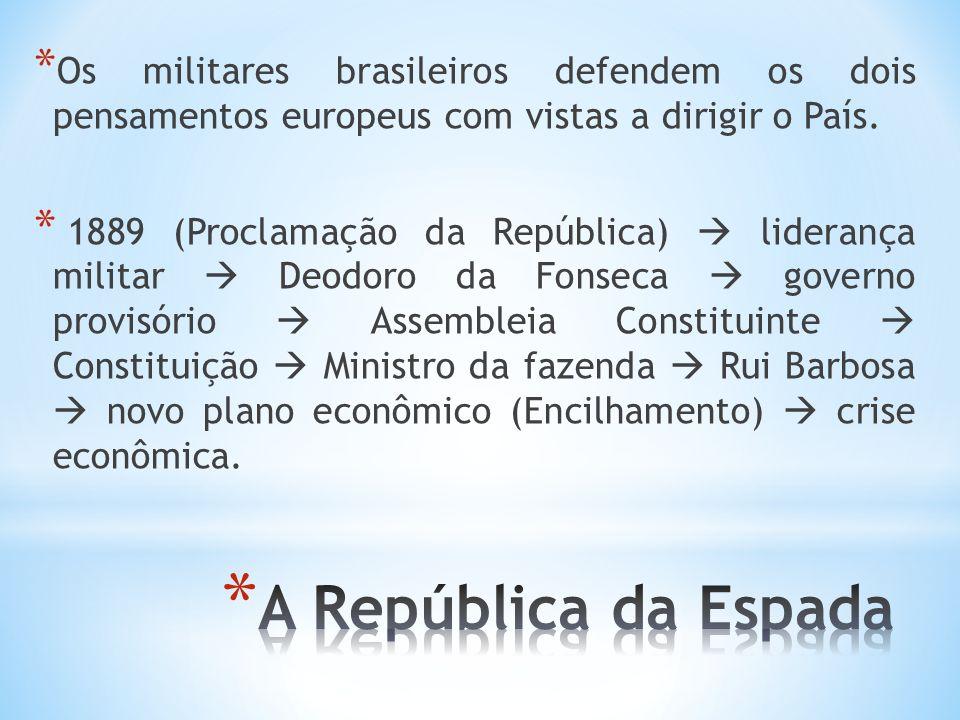 Os militares brasileiros defendem os dois pensamentos europeus com vistas a dirigir o País.