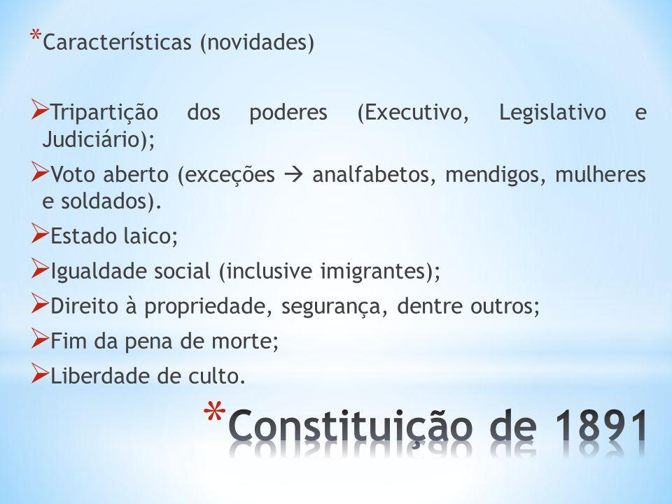 Constituição de 1891 Características (novidades)