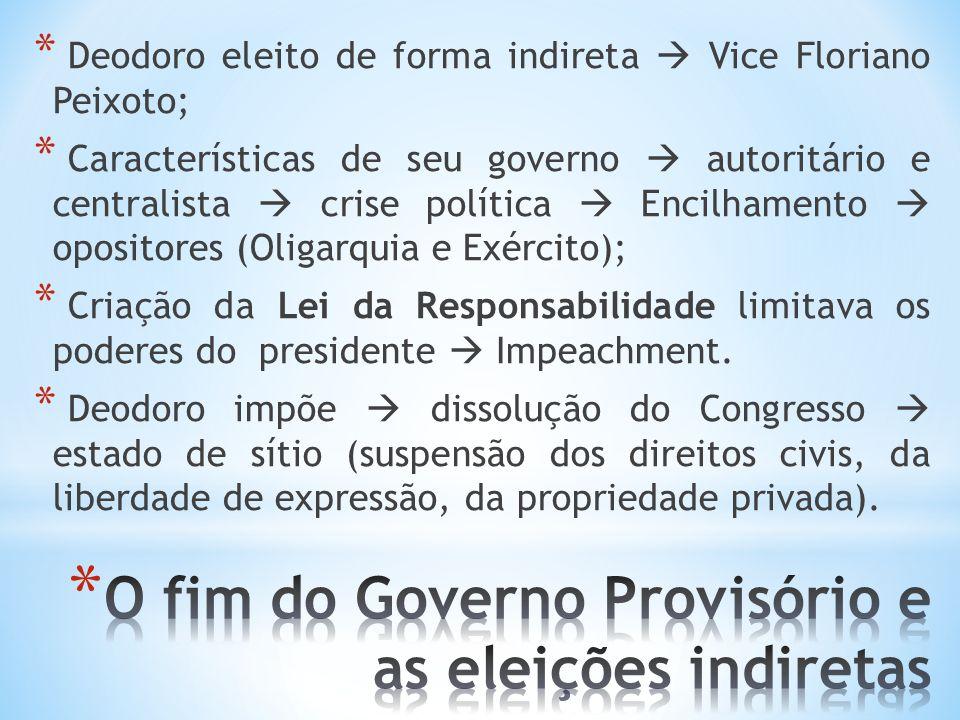 O fim do Governo Provisório e as eleições indiretas