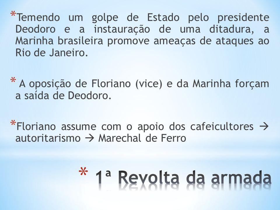 Temendo um golpe de Estado pelo presidente Deodoro e a instauração de uma ditadura, a Marinha brasileira promove ameaças de ataques ao Rio de Janeiro.