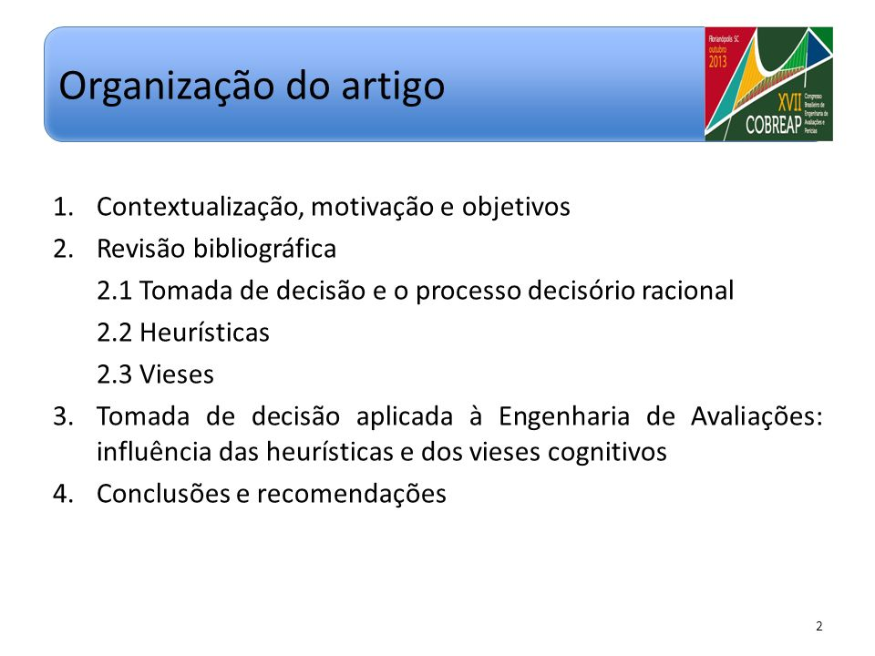 Organização do artigo Contextualização, motivação e objetivos