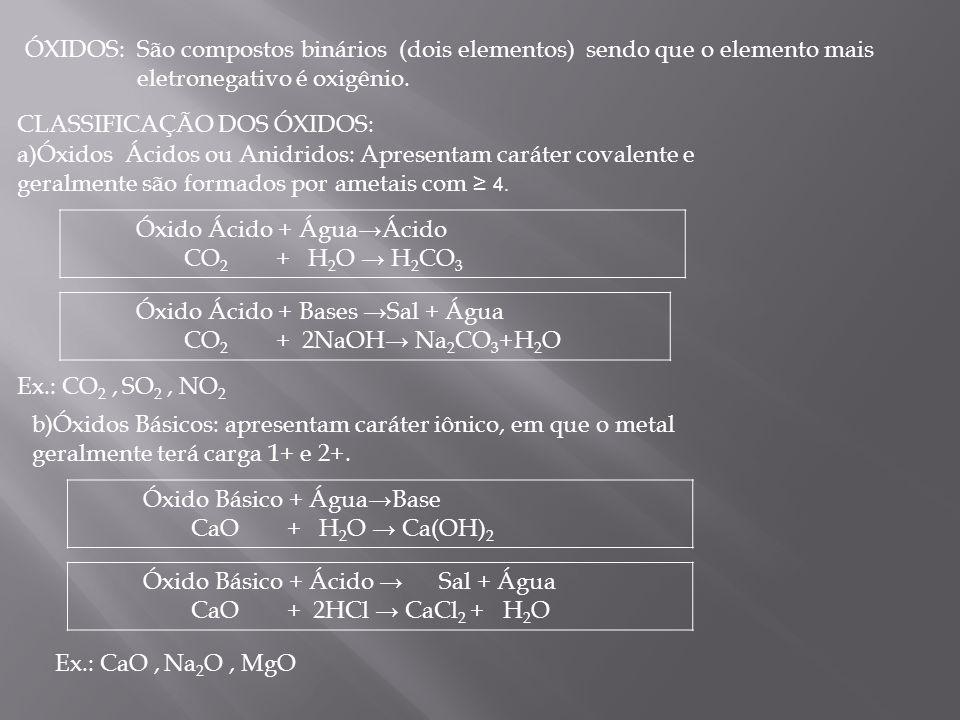 ÓXIDOS: São compostos binários (dois elementos) sendo que o elemento mais eletronegativo é oxigênio.