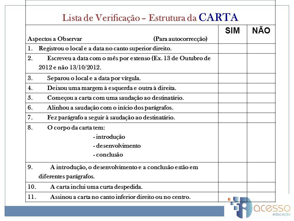 Lista de Verificação – Estrutura da CARTA