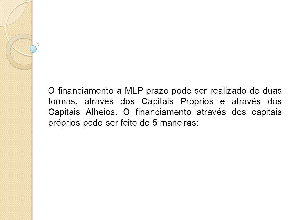 O financiamento a MLP prazo pode ser realizado de duas formas, através dos Capitais Próprios e através dos Capitais Alheios.
