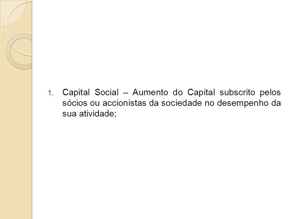 Capital Social – Aumento do Capital subscrito pelos sócios ou accionistas da sociedade no desempenho da sua atividade;