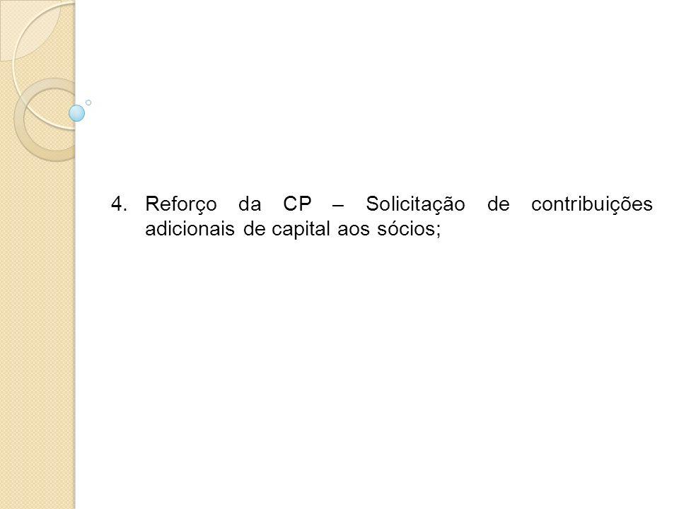 Reforço da CP – Solicitação de contribuições adicionais de capital aos sócios;