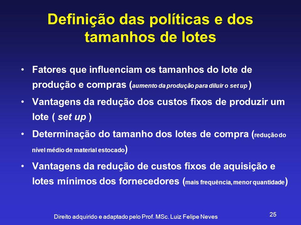Definição das políticas e dos tamanhos de lotes