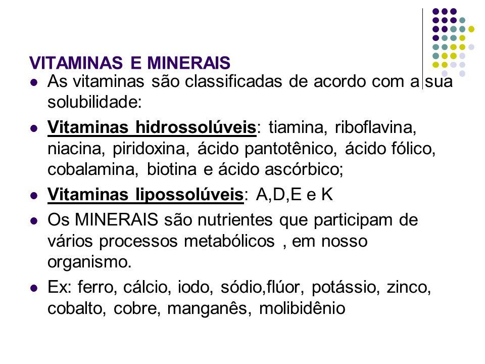 VITAMINAS E MINERAIS As vitaminas são classificadas de acordo com a sua solubilidade: