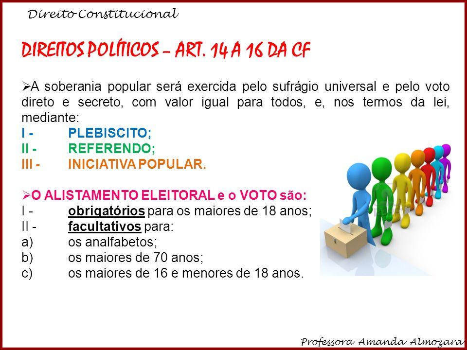 DIREITOS POLÍTICOS – ART. 14 A 16 DA CF
