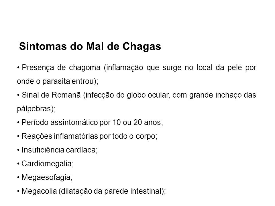 Sintomas do Mal de Chagas