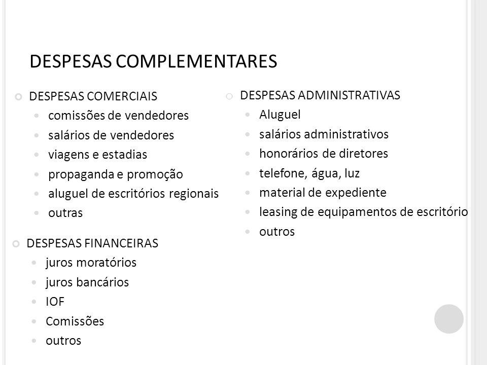 DESPESAS COMPLEMENTARES