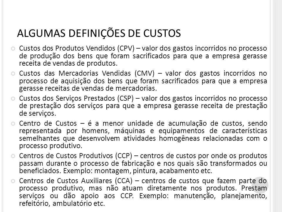 ALGUMAS DEFINIÇÕES DE CUSTOS