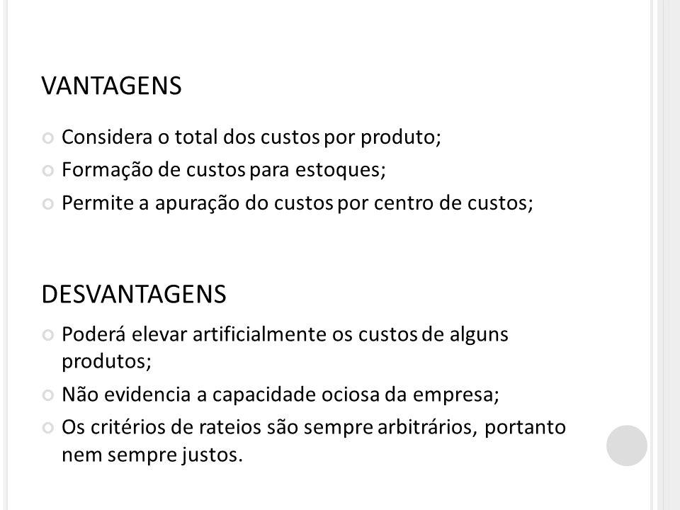 VANTAGENS DESVANTAGENS Considera o total dos custos por produto;