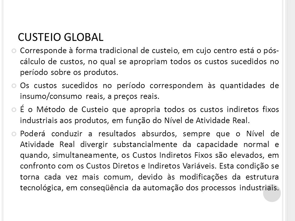 CUSTEIO GLOBAL