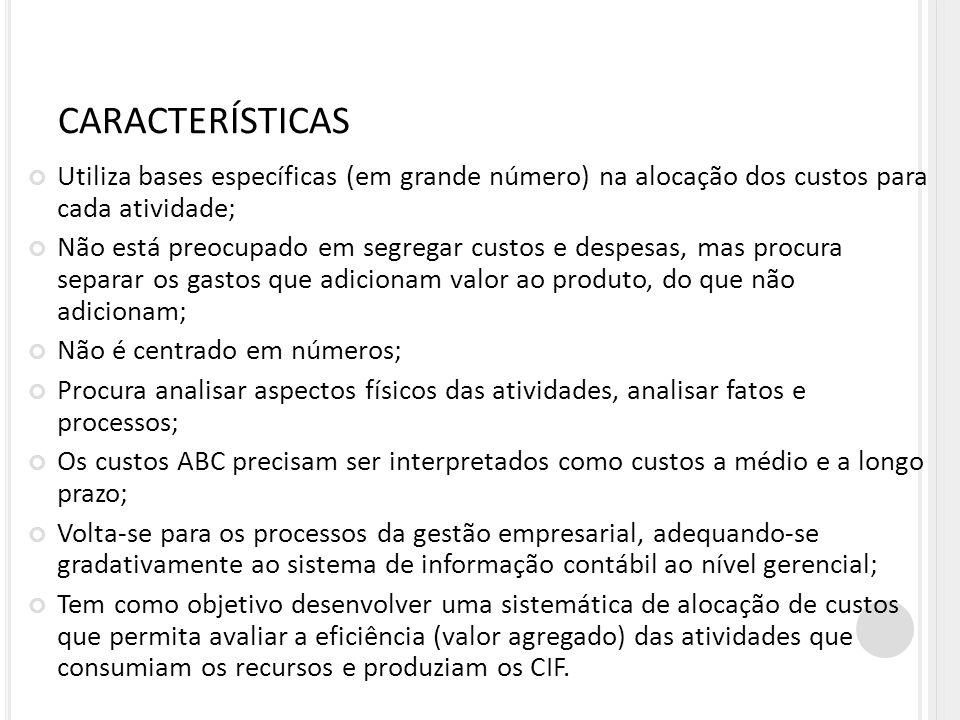 CARACTERÍSTICAS Utiliza bases específicas (em grande número) na alocação dos custos para cada atividade;