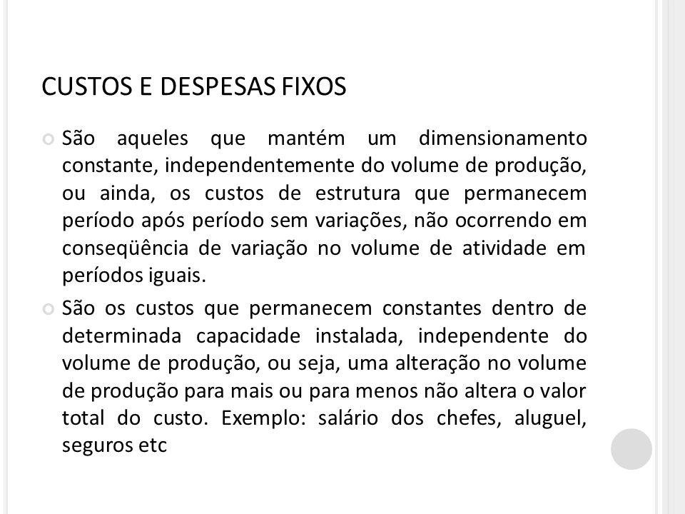 CUSTOS E DESPESAS FIXOS