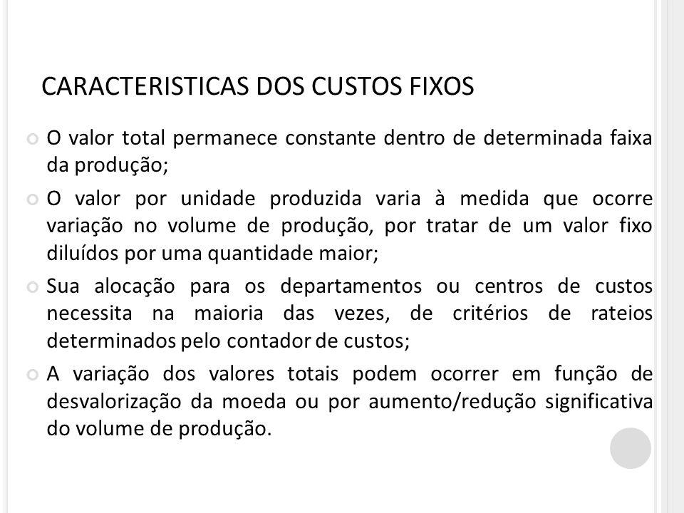 CARACTERISTICAS DOS CUSTOS FIXOS