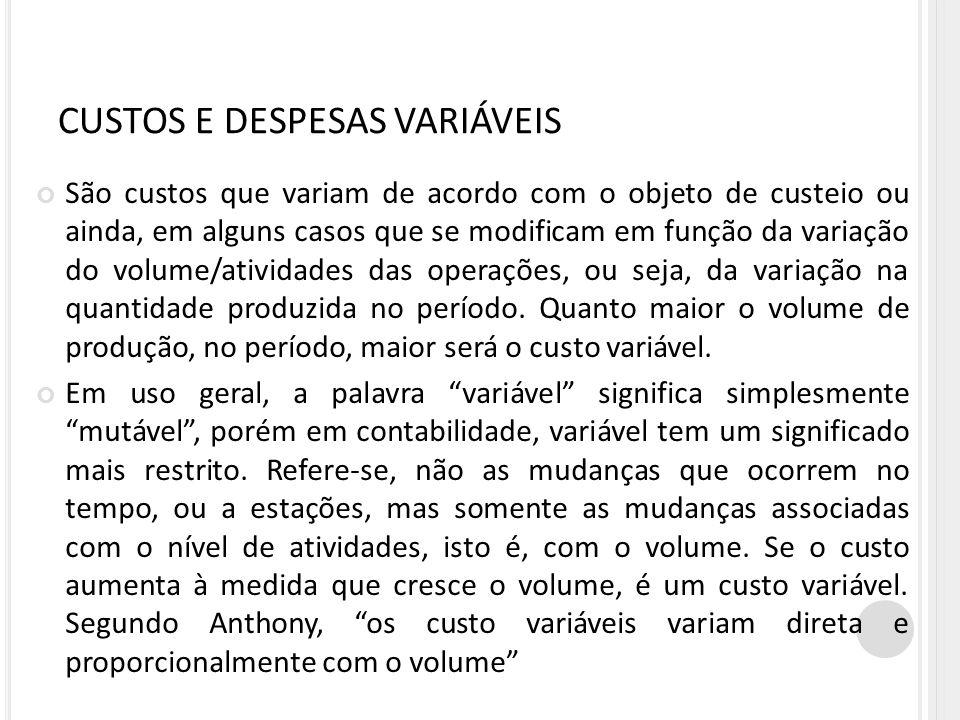 CUSTOS E DESPESAS VARIÁVEIS