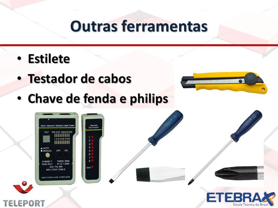 Outras ferramentas Estilete Testador de cabos Chave de fenda e philips