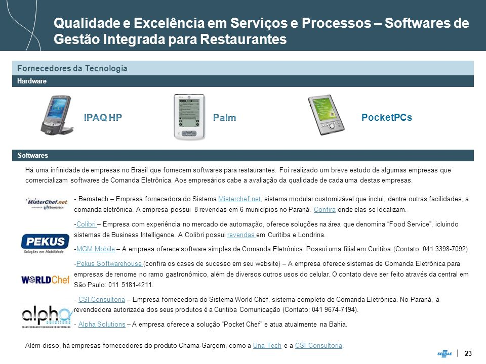 Qualidade e Excelência em Serviços e Processos – Softwares de Gestão Integrada para Restaurantes