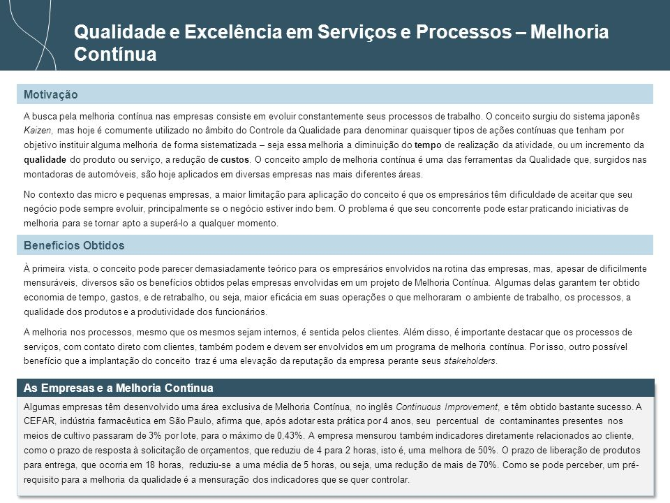 Qualidade e Excelência em Serviços e Processos – Melhoria Contínua