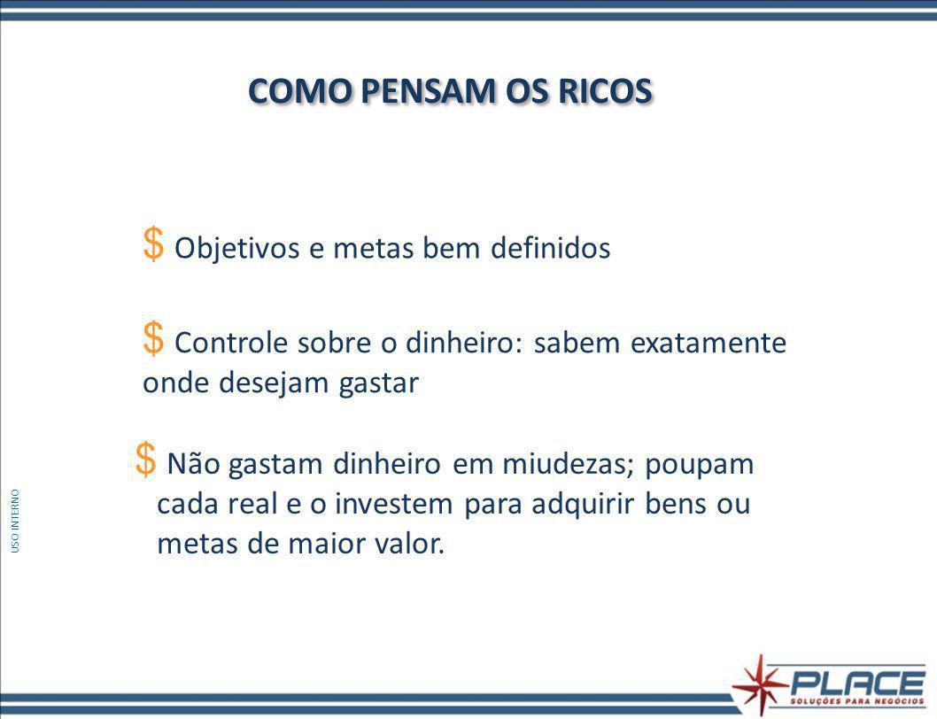 COMO PENSAM OS RICOS Objetivos e metas bem definidos
