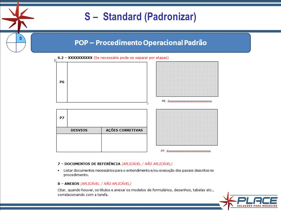 S – Standard (Padronizar) POP – Procedimento Operacional Padrão