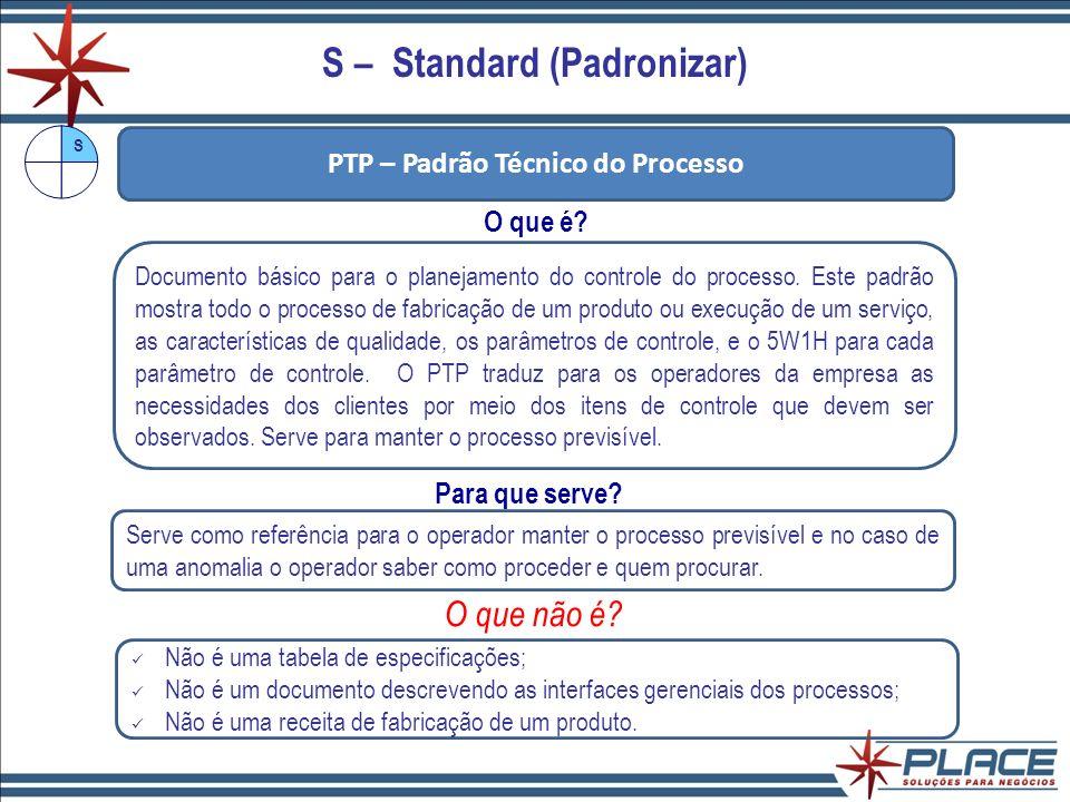 S – Standard (Padronizar) PTP – Padrão Técnico do Processo