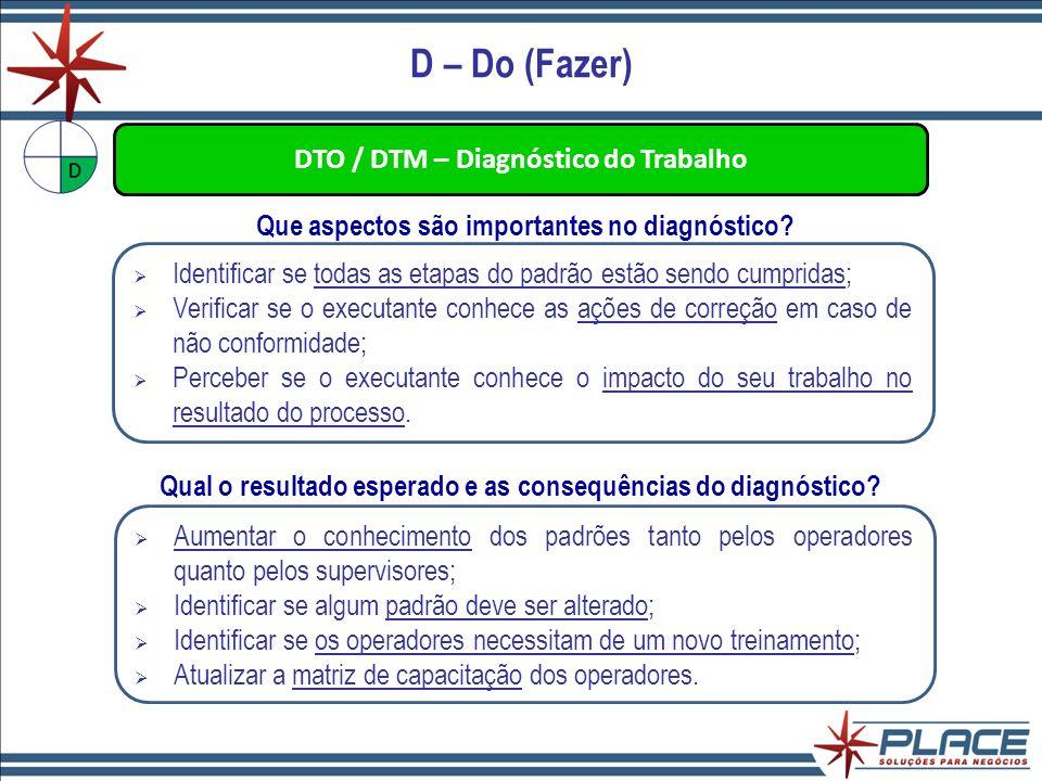 D – Do (Fazer) DTO / DTM – Diagnóstico do Trabalho