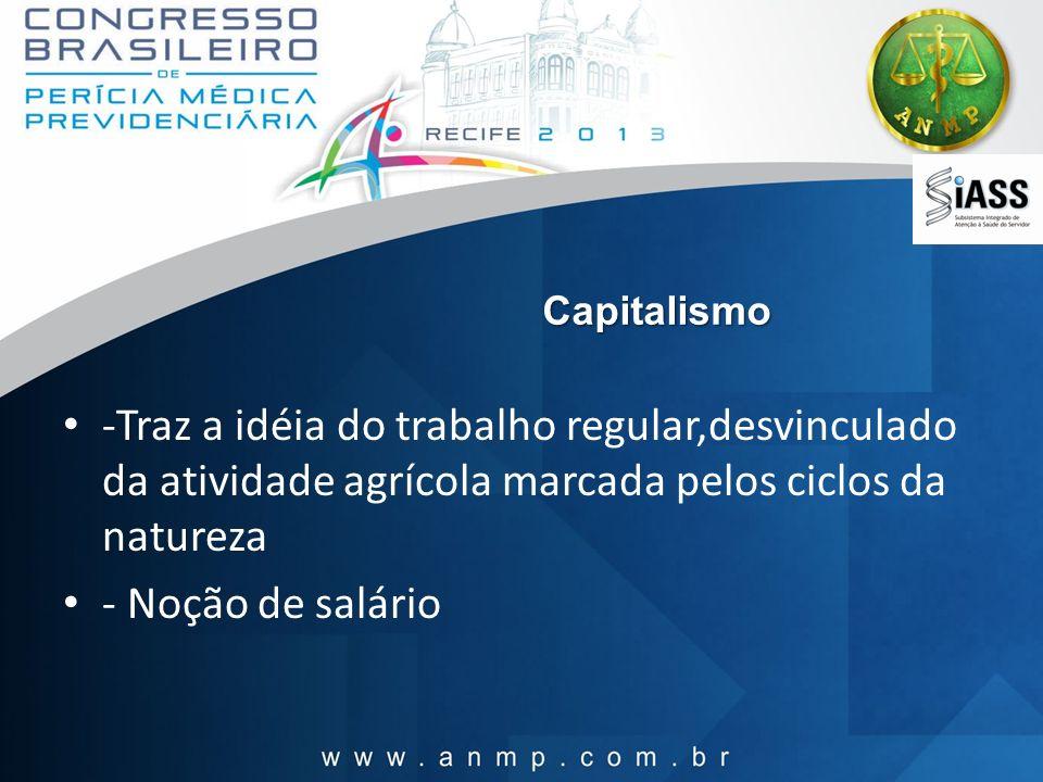 Capitalismo -Traz a idéia do trabalho regular,desvinculado da atividade agrícola marcada pelos ciclos da natureza.