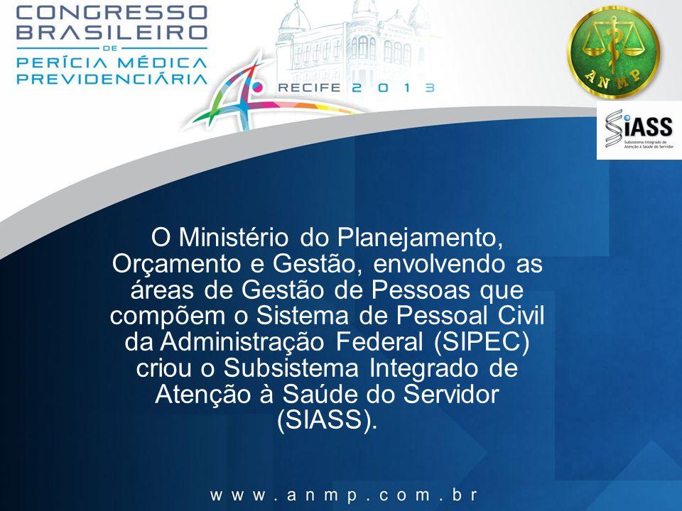 O Ministério do Planejamento, Orçamento e Gestão, envolvendo as áreas de Gestão de Pessoas que compõem o Sistema de Pessoal Civil da Administração Federal (SIPEC) criou o Subsistema Integrado de Atenção à Saúde do Servidor (SIASS).