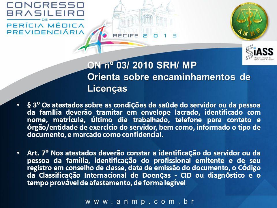ON nº 03/ 2010 SRH/ MP Orienta sobre encaminhamentos de Licenças