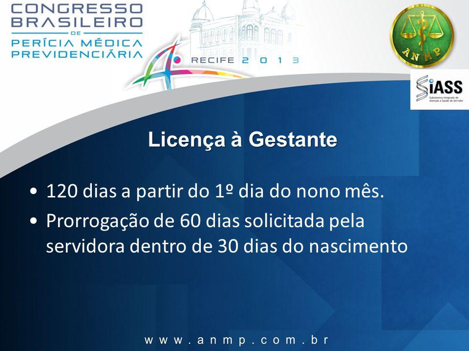Licença à Gestante 120 dias a partir do 1º dia do nono mês.
