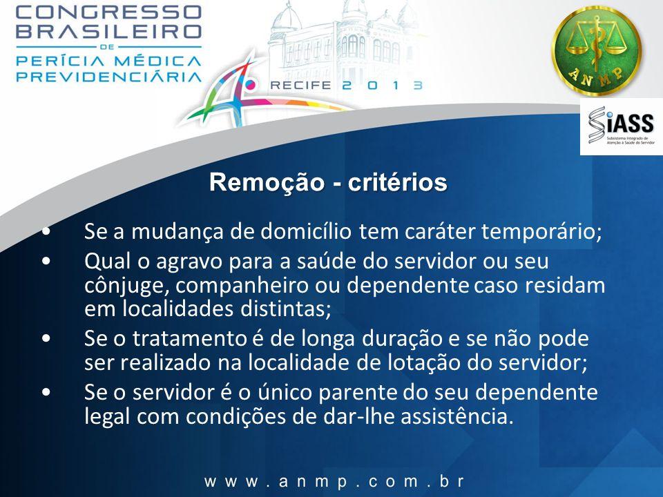 Remoção - critérios Se a mudança de domicílio tem caráter temporário;