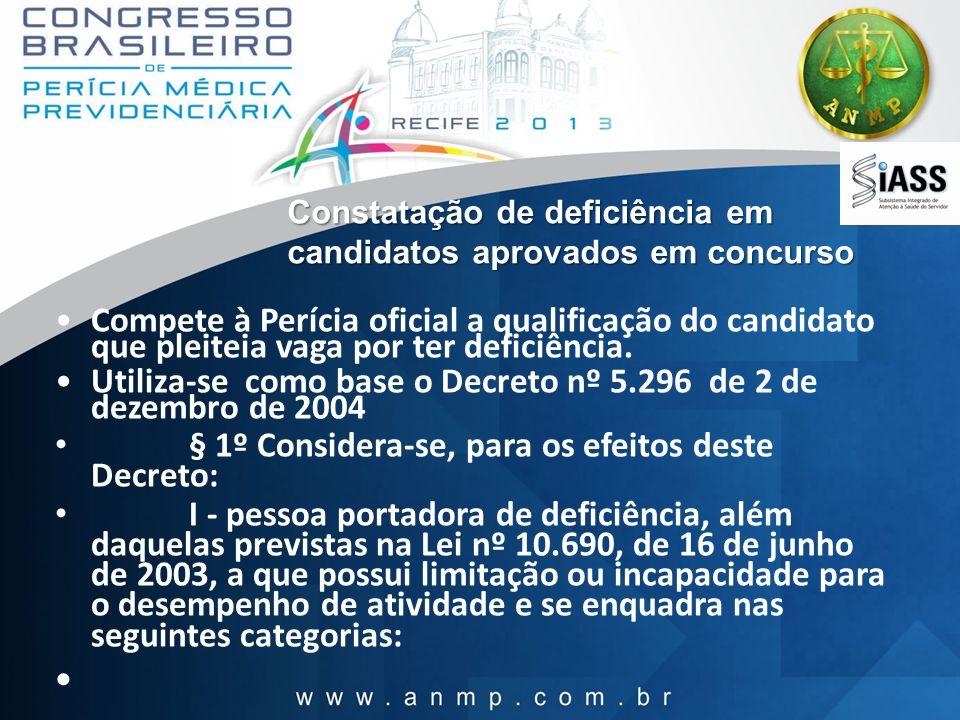 Constatação de deficiência em candidatos aprovados em concurso