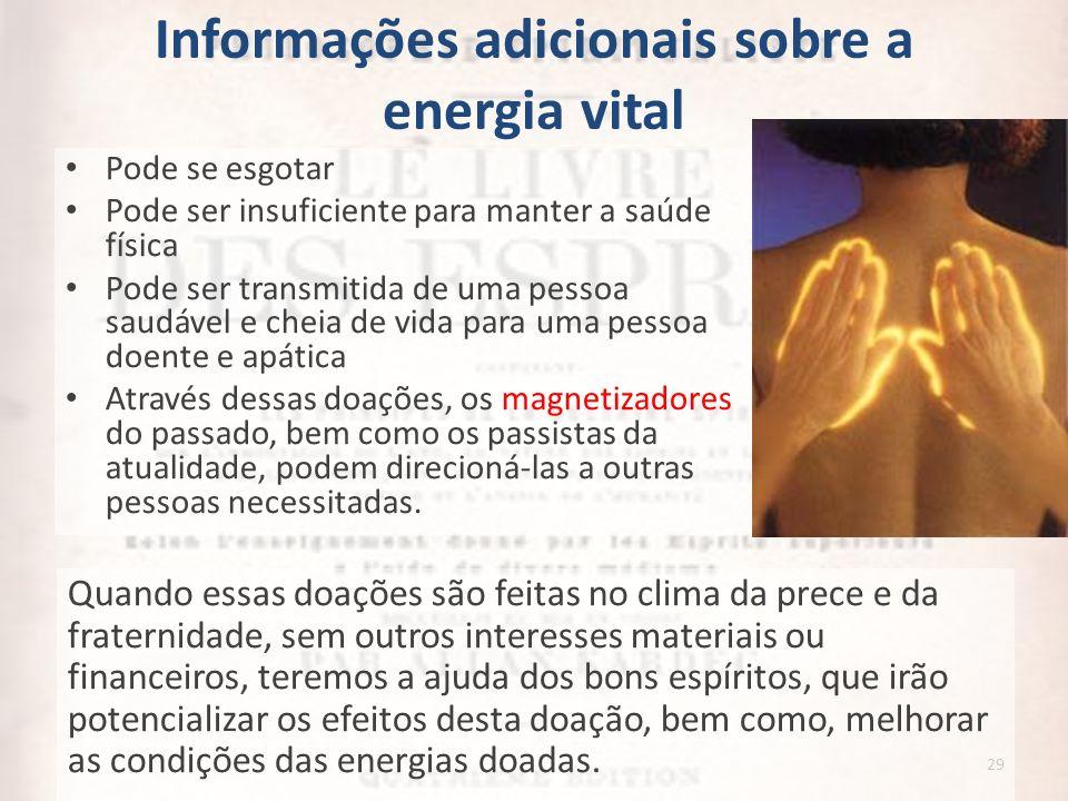 Informações adicionais sobre a energia vital