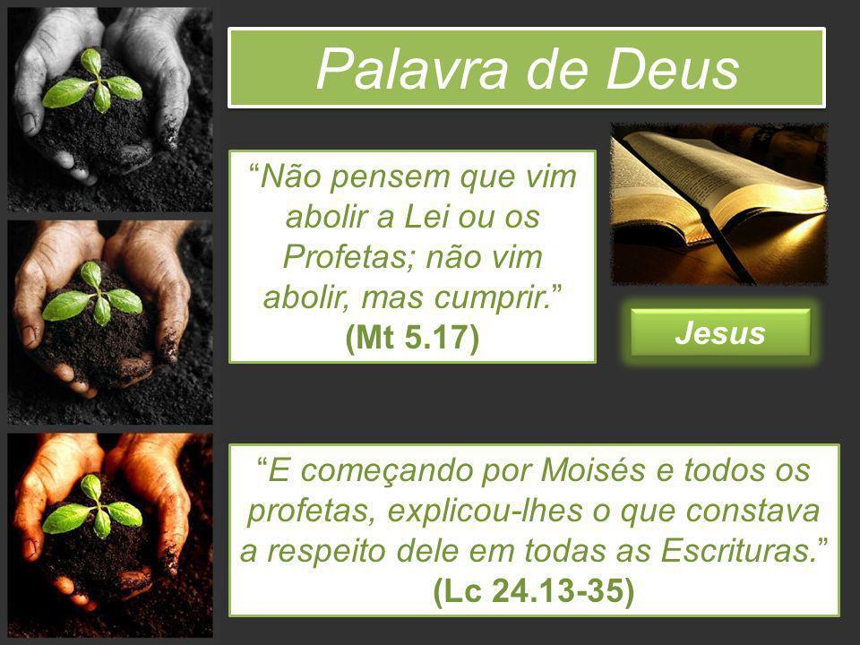 Palavra de Deus Não pensem que vim abolir a Lei ou os Profetas; não vim abolir, mas cumprir. (Mt 5.17)