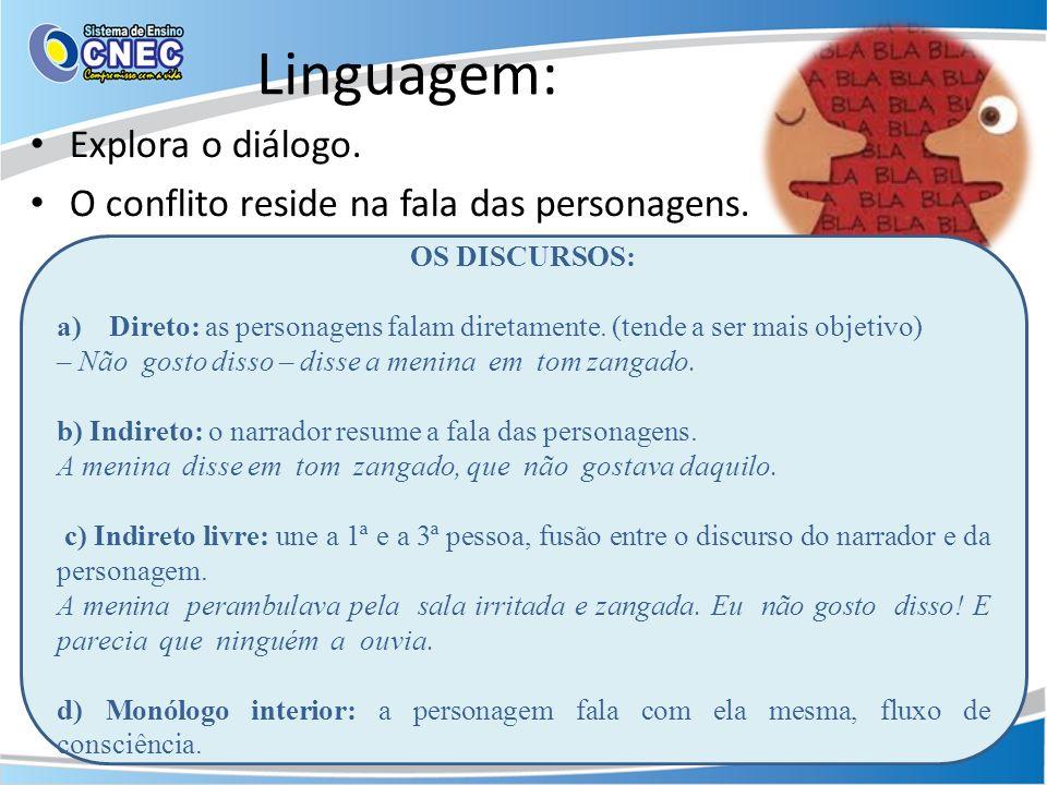 Linguagem: Explora o diálogo.