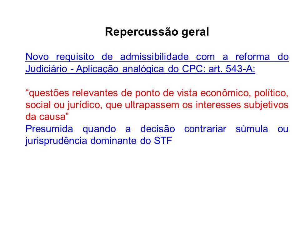 Repercussão geral Novo requisito de admissibilidade com a reforma do Judiciário - Aplicação analógica do CPC: art. 543-A: