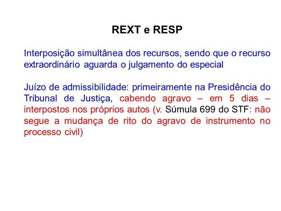 REXT e RESP Interposição simultânea dos recursos, sendo que o recurso extraordinário aguarda o julgamento do especial.