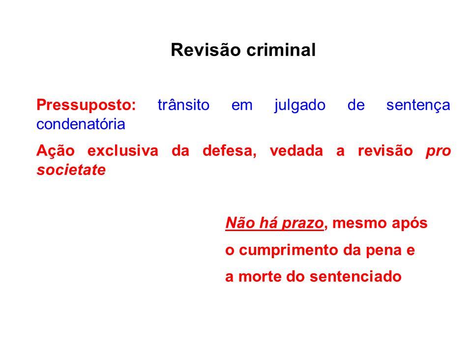 Revisão criminal Pressuposto: trânsito em julgado de sentença condenatória. Ação exclusiva da defesa, vedada a revisão pro societate.