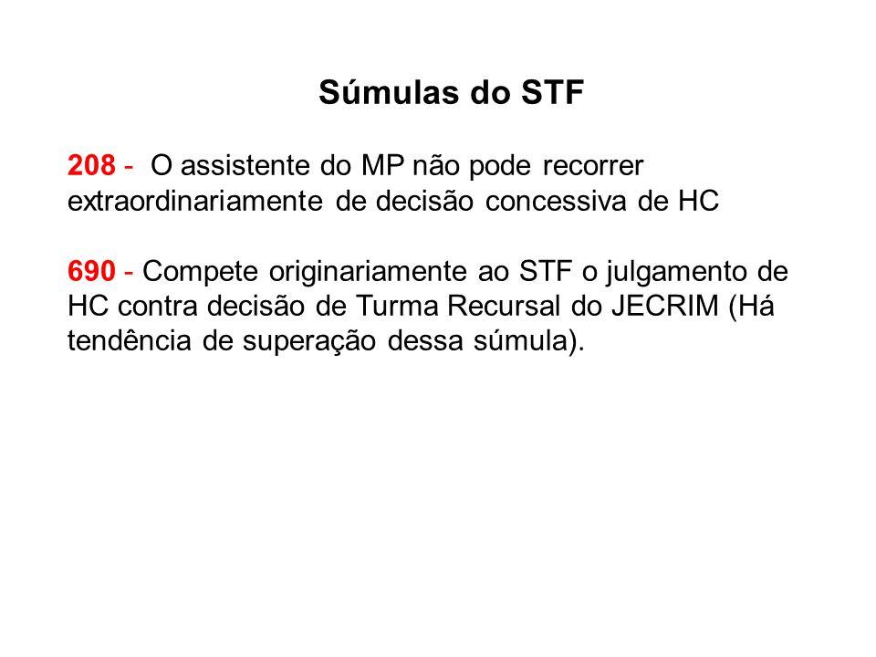 Súmulas do STF 208 - O assistente do MP não pode recorrer extraordinariamente de decisão concessiva de HC.