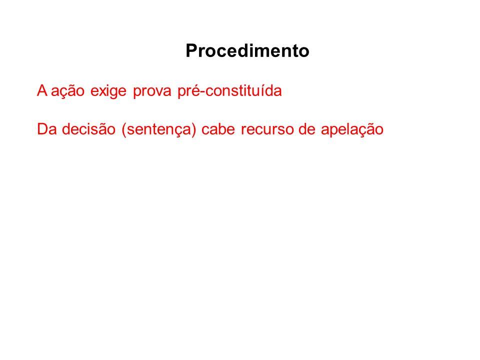 Procedimento A ação exige prova pré-constituída