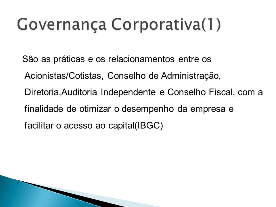 Governança Corporativa(1)